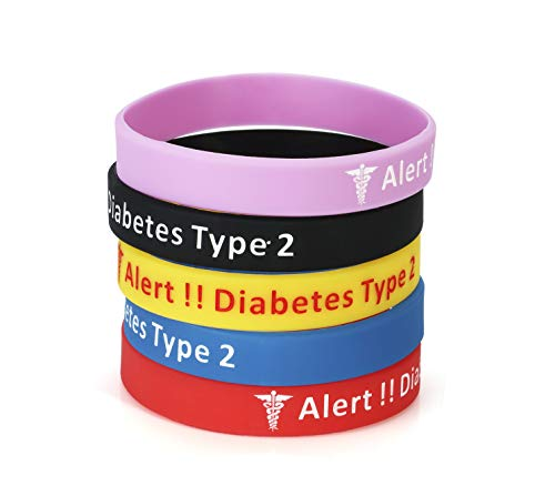 5 Pack-Type 2 Diabetes Jewelry Silicone Medical Alert Bracelets-7.5