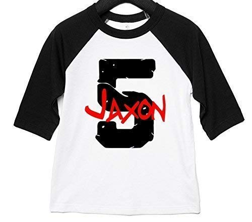 Applecoter PERSONALIZED Fifth Birthday Party Shirt Boy Five Year Old Gift 5th Baseball Raglan Grunge Theme Unisex Fit