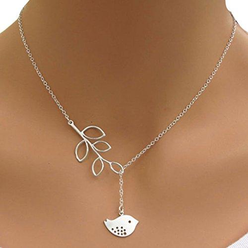 Palladium Leaf - Sinfu Necklace Women FashionBranch leaf Bird Pendant Charm Silver Plated Chain Necklace