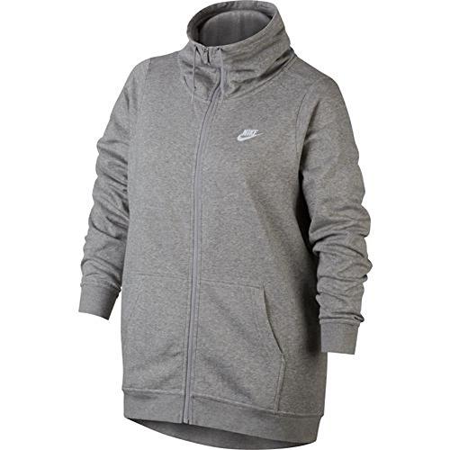 Nike Womens Plus Size Funnel Neck Full Zip Jacket (1X) Gray