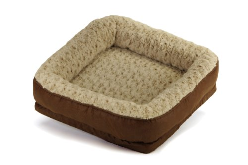 Brinkmann Pet Luxury Faux Leather and Fur Bolster Pet Bed, 18-Inch-by-22-Inch, My Pet Supplies