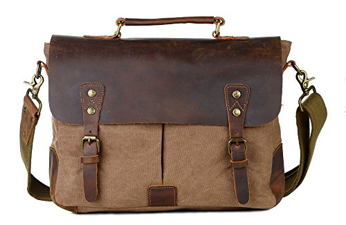 6c7075d0df Galleon - Gootium Canvas Messenger Bag Vintage Leather 14 Inch Laptop  Shoulder Bag Men Coffee