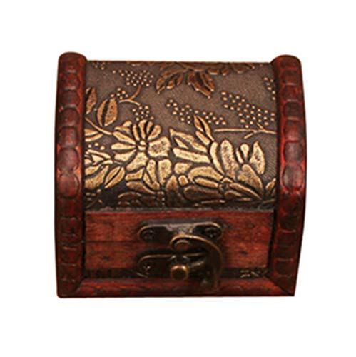 Wooden Jewelry Storage Box Rustic Brown Bridesmaid Box Personalized European Style Handmade Jewelry Case Keepsake Small Private Box for Women (B) -