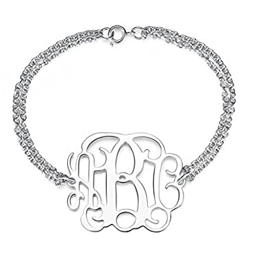 Jian Chen Hand crafted 1.25  Monogram Name Pendant Bracelet - Personalized Monogramed Initials Charms Length 9 Inches
