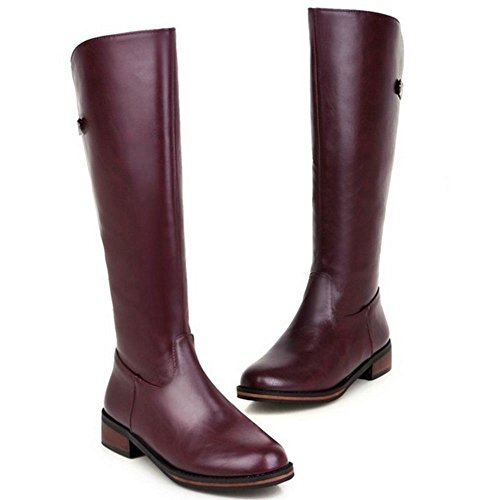 Taoffen Purple Zipper 1625 Women's With Boots Long nxa18nC