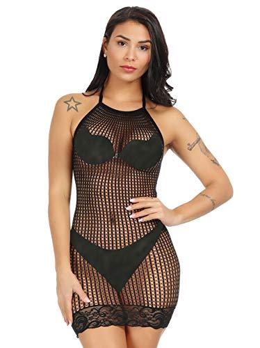- LemonGirl Women's Mesh Lingerie Fishnet Babydoll Mini Dress Free Size Bodysuit