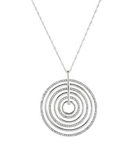 LEARD Multi-circle Crystal Paved Pedant Necklace Rose Gold Twist Chain Delicate for Women(silver)