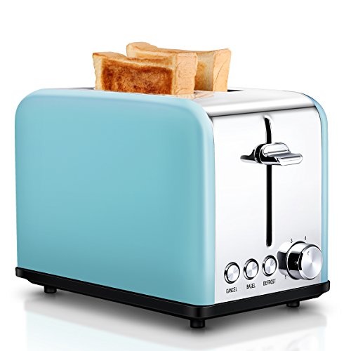 Toaster 2 Slice, Retro Small Toaster with Bagel, Cancel, Defrost Function, Extra Wide Slot Compact Stainless Steel Toasters for Bread Waffles, Blue (Blue Waffle Colored)