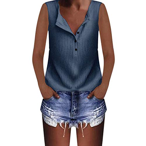 HIRIRI Women's Tank Top Waffle Knit Tunic Vest Loose Sleeveless Button Up V Neck Henley Shirts Blue