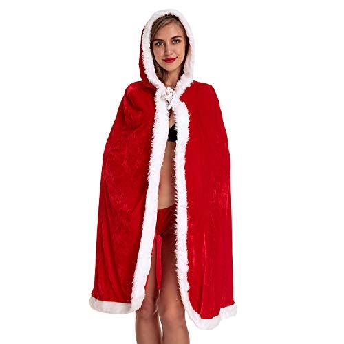 Defitshape Women's Christmas Costume Robe Cape Hood Mrs. Santa Claus Red Velvet Xmas Cloak Red One Size