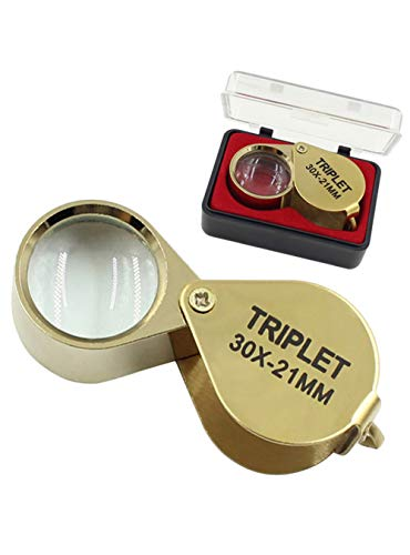 NIEGIENNA-30X Mini Folding Magnifier Jeweler Loupe Eye Loupe Jewelry Portable Magnifying Glass Pocket Handhold Tools(Color:Golden)