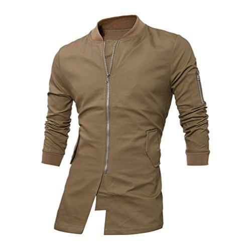 Otoño Diseño Blusa Caqui De Invierno YAANCUN Cremallera Abrigo Top Hombre qOtUx8wxH5
