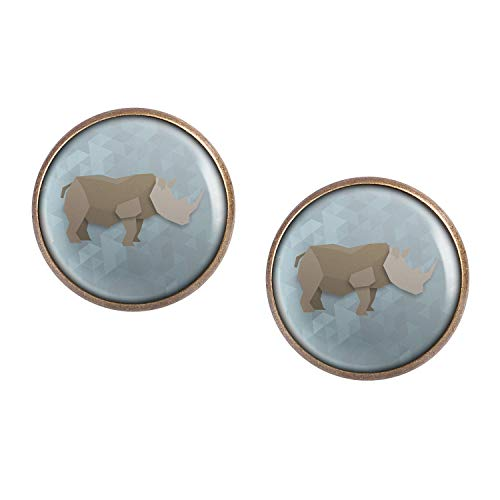 (Stud Earring Pair with Cabochon Picture Rhino Origami bronze 0.63 inch)