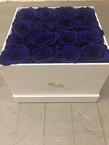 Blue Preserved Roses In Elegant White Square box by De Niat fleur