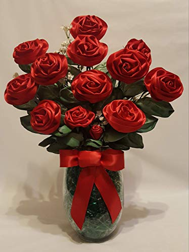 - Handmade Red Satin Ribbon Rose Bouquet of 13 Long Stemmed Roses with Glass Vase from the Sassy Collection