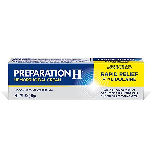Preparation H (1.0 Ounce, 1 Tube per box) Rapid Relief with Lidocaine Hemorrhoid Symptom Treatment Cream, Numbing Relief for Pain, Burning & Itching, Tube by Preparation H