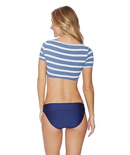 Splendid Women's Chambray Cottage Soft Cup Short Sleeve Cropped Bikini Top, Blue, S