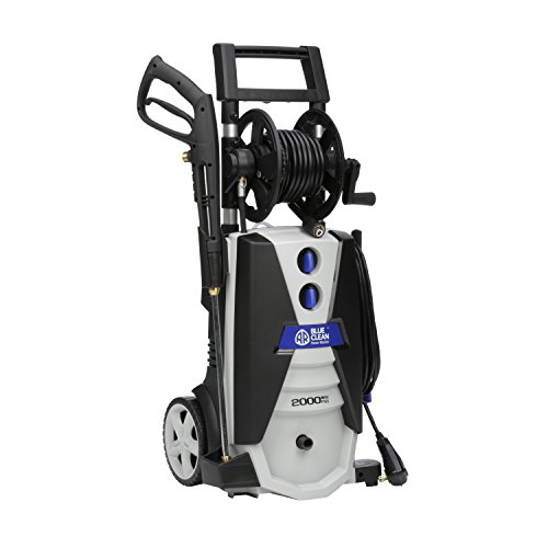 AR Blue Clean AR390SS 2000 psi Electric Pressure Washer with Spray Gun, Wand, 30′ Hose & 35′ Power Cord, Blue