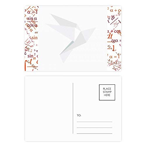 White Origami Abstract Pigeon Pattern Formula Postcard Set Thanks Card Mailing Side 20pcs -