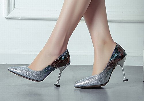 Pointed Shoes Heel Evening Fashion High Women's Toe Carolbar Silver Stylish Cn87txnq