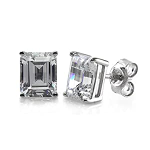 BERRICLE Rhodium Plated Sterling Silver Emerald Cut Cubic Zirconia CZ Solitaire Anniversary Wedding Stud Earrings 8mm x 6mm 3.48 CTW