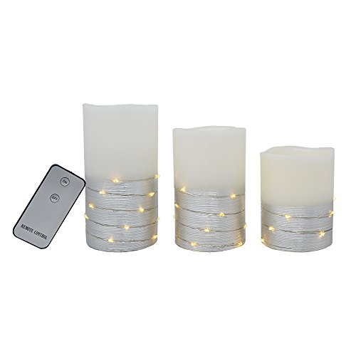 The Nifty Nook Enchanting Flameless LED Candles Lights with Silver Banding and LEDs Wrapped Around Real Wax Pillar Candles with Remote Control - Ivory White, Set of ()