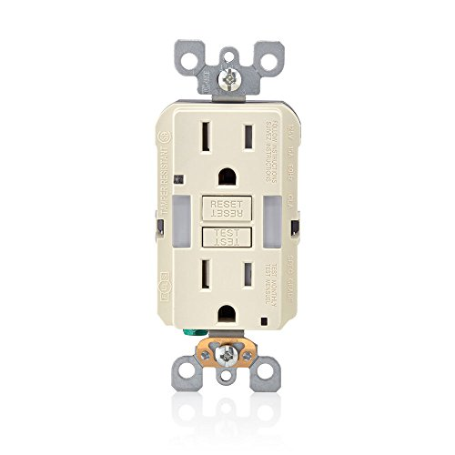 Leviton GFNL1-T R06-Gfnl1-00T Self-Test Tamper Gfci Receptacle And Outlet With Guide Light, 125 V, 15 A, 2 Pole, 3 Wire, Amp, Almond