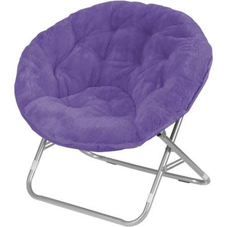 Mainstays Faux-Fur Saucer Chair with Cool Faux-Fur Fabric, Soft and Wide Seat, in Purple Color + Free Furniture Duster