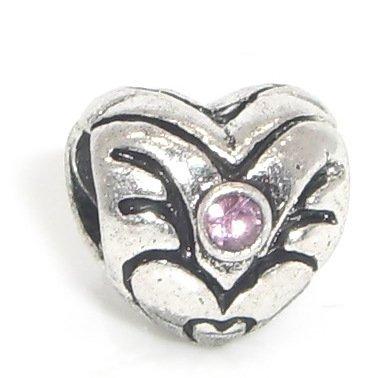 "Jewelry Monster Antique Finish ""Victorian Designer Heart w/ Alexandrite Light Purple Crystal Rhinestone"" June Birthstone Charm Bead for Snake Chain Charm Bracelet"