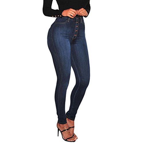 VEZAD High Waisted Skinny Denim Jeans Women Stretch Slim Pants Calf Jeans