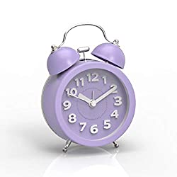 PiLife 3 Mini Non-ticking Vintage Classic  Analog Alarm Clock with Backlight , Battery Operated Travel Clock, Loud Twin Bell Alarm Clock for Kids( 3D Purple)