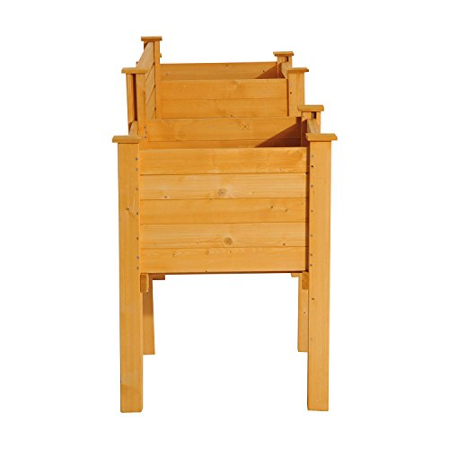 NEW Yellow Fir wood Wooden Garden Bench W/ Flower Bed Planter Patio Outdoor Furniture by Baskets, Pots & Window Boxes (Image #8)