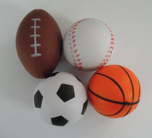 Dazzling Toys Set of 12 Sports Balls for Kids - Soccer Ball, Basketball, Football, Tennis Ball (1 Dozen)