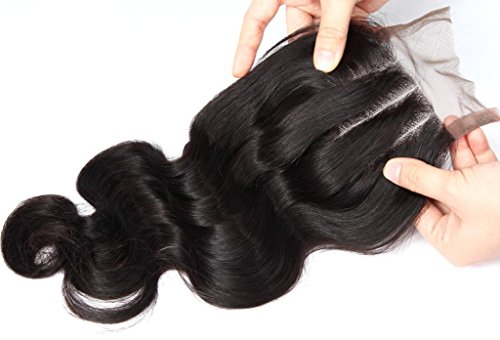 Ali Queen Top Quality 3 Part 20 Inches Natural Black Virgin Brazilian Hair Body Wave Weave Lace Closure