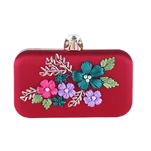 Bag Bag Embroidery Fashion Female American Banquet European Fly Fabric Dress Cocktail Bag Bag Red Evening Craft Pearl Evening qSHg6