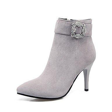 Heart&M Damen Schuhe Beflockung Herbst Winter Komfort Stiefel Stöckelabsatz Spitze Zehe Strass Reißverschluss Für Schwarz Grau Braun Rot red