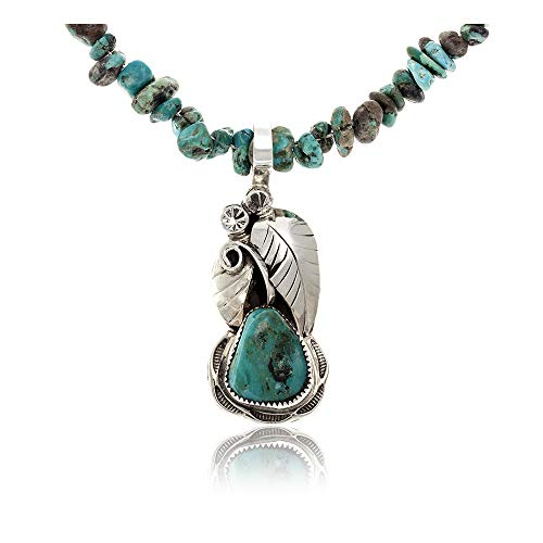 $480 Tag Silver Authentic Handmade Navajo Native American Natural Turquoise Necklace & - Turquoise Navajo Necklace