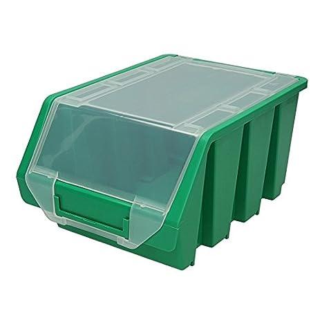 10 pieza Visión Cajas de almacenamiento con tapa Talla Visión 3 cajas apilables Cajas Caja de almacenamiento Caja de almacenamiento Caja de caja Caja verde: ...