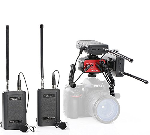 Saramonic Dual Wireless VHF Lavalier Microphone Bundle with 2 Transmitters, 2 Receivers and Audio Mixer for DSLR Cameras