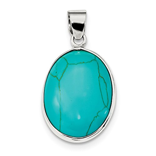 (Sterling Silver Oval Turquoise Pendant (1.46 in x 0.79 in))