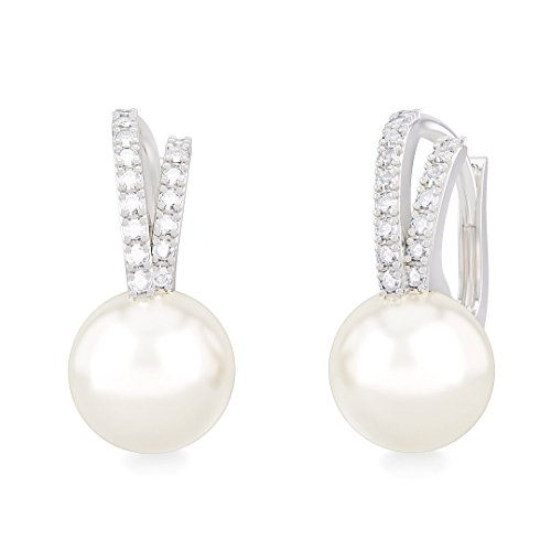 CLOE earrings in 18kt white gold and palladium with pearl and diamonds for women - Baguette Cultured Pearl Earrings