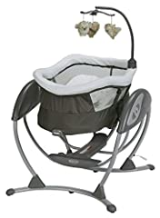 Gently lower the swing seat to create a cozy, reclined sleep space as baby continues to glide with the soothing Graco Dream Glider Gliding Swing. The baby swing seat reclines with an easy, one-hand motion, giving your baby a safe and comforta...
