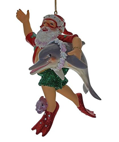 December Diamonds Diving Santa with Dolphin and Fish Christmas Ornament 5590333