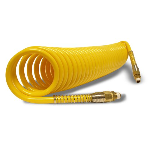"""Apache 15025995 1/4"""" x 25' Nylon Recoil Air Hose Assembly with Male Straight Pipe Thread Fittings"""