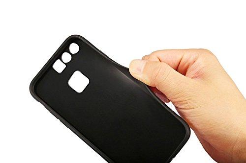 Funda Huawei P9 Plus, EUWLY Huawei P9 Plus Carcasa Silicona Ultra Slim Plating Mirror TPU Cover Case Anti-Rasguño Anti-Golpes Protectora Bumper Case para Huawei P9 Plus Funda Lujo Tridimensiona Diaman Espejo Negro,Diamante