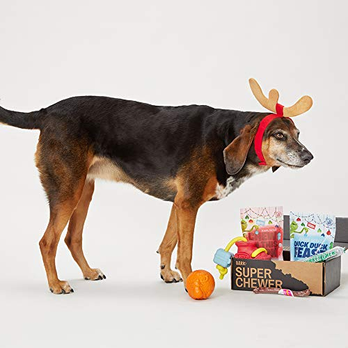 Ducks Limited Edition - BarkBox Super Chewer (A) Small Dog Grinch Holiday Limited Edition Gift Assortment Plush Toys, Chew Toys, All-Natural Lamb and Duck Treats/Pork, Elk Chew Made in The USA, Plus Bonus Dog Wearable