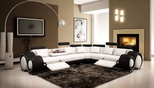 - 4087 Black & White Top Grain Italian Leather Living Room Sectional Sofa