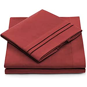 Queen Size Bed Sheets - Burgundy Luxury Sheet Set - Deep Pocket - Super Soft Hotel Bedding - Cool & Wrinkle Free - 1 Fitted, 1 Flat, 2 Pillow Cases - Dark Red Queen Sheets - 4 Piece