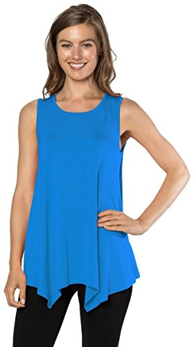 Womens Tunic Tank Top T-Shirt - Loose Basic Sleeveless Tee Shirt Blouse, (Turquoise-XL) (Top Sleeveless Turquoise)