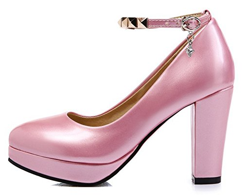 Chucky Round Strap Toe Pink 4 Platform Pumps Alnice Heels High Studded Ankle Patent Women's WA1nqZz